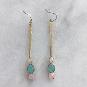 Anthropologie gold drop stone earrings